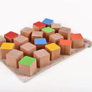 Dřevěné kostky 20 kusů včetně látkového pytlíku
