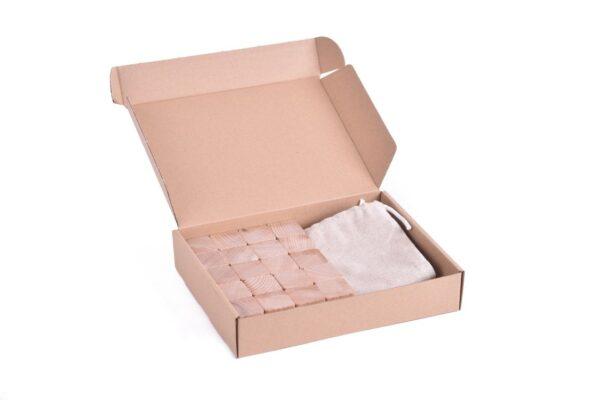 Dřevěné kostky přírodní 60 kusů včetně látkového pytlíku