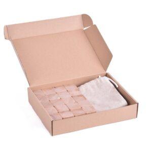 Dřevěné kostky přírodní 20 kusů včetně látkového pytlíku