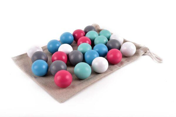 Dřevěné koule barevné 25 kusů včetně látkového pytlíku