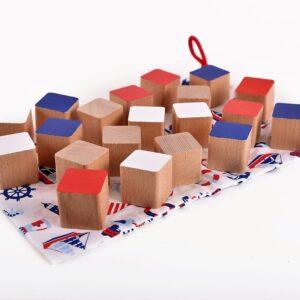 Dřevěné kostky námořnické 20 kusů včetně látkového pytlíku