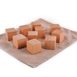 Dřevěné maxi kostky přírodní 10 kusů včetně látkového pytlíku
