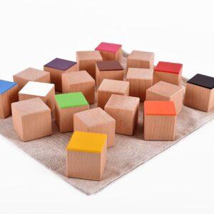 Dřevěné maxi kostky 20 kusů včetně látkového pytlíku