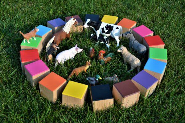 Dřevěné maxi kostky barevné 20 kusů včetně látkového pytlíku